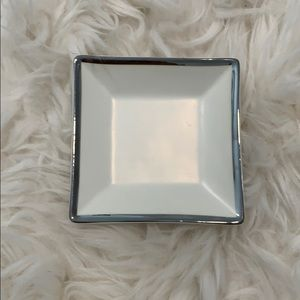 J Crew White and Silver Jewelry Tray